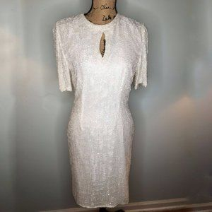 White Silk Beaded  Sequin Vintage Evening Dress